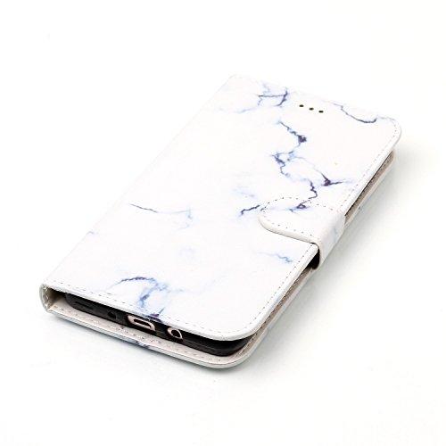 Samsung Galaxy J7 2016 Custoida in Pelle Portafoglio,Samsung Galaxy J7 2016 Cover Pu Wallet,KunyFond Lusso Moda Marmo Dipinto Leather Flip Protective Cover con Bella Modello Cover Custodia per Samsung Marmo bianco