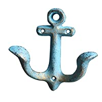 KiaoTime Vintage Rustic Cast Iron Nautical Anchor Design Wall Hooks Coat Hooks Rack, Decorative Wall Mounted Antique Shabby Chic Metal Home BathRoom Towel Coat Hooks Hanger (Blue)