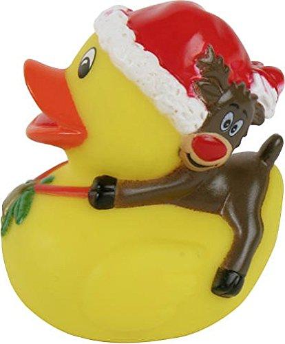 Weihnachtliches Badeentchen Quietscheente: ENTE MIT RENTIER, Durchmesser: ca 6cm