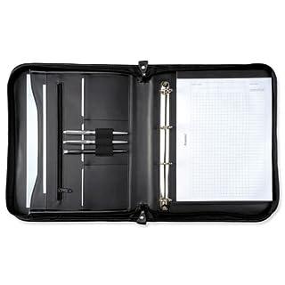 Alassio 30043 - Ringbuchmappe LIMONE im DIN A4 Format, Schreibmappe aus FINEtouch Lederimitat, Dokumenetnmappe in schwarz, Mappe ca. 36 x 28,5 x 4 cm