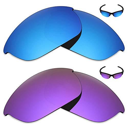 MRY 2Paar Polarisierte Ersatz Linsen für Oakley Sonnenbrille Half Jacket 2.0-Reichhaltige Option Farben, Ice Blue & Plasma Purple