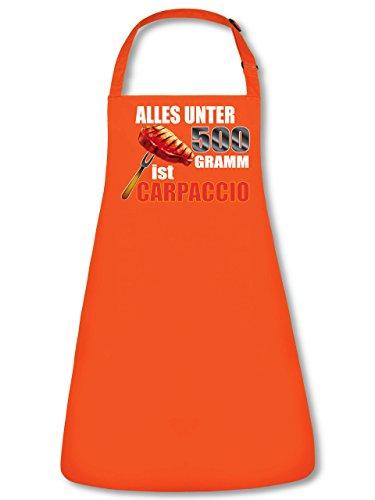 Grillen BBQ Alles unter 500 Gramm ist Carpaccio 4829 Garten Unisex Grillschürze Kochschürze Latzschürze Küchenschürze Orange