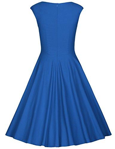 MUXXN Damen Retro 1950er Kleider Swing Kleid Vintage Rockabilly Kleid Partykleid Cocktailkleid Bright Blue