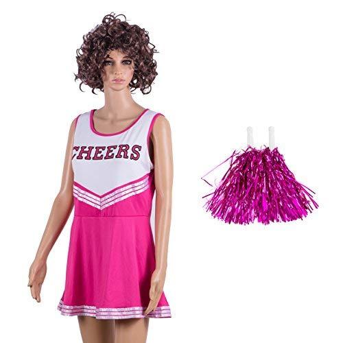 Damen Redstar – Cheerleader-Kostüm mit Pompons,Fantasiekleid, Kostüm für Sport, Highschool, Musical, Halloween –6Farben, Größen 34–42 mehrfarbig rose Ladies 14-16 UK