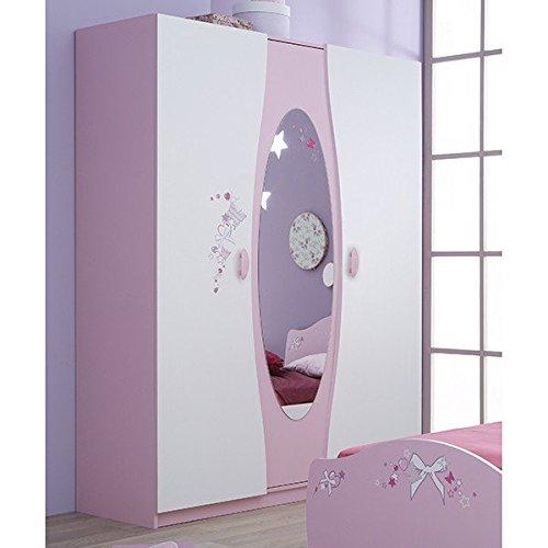 Kleiderschrank rosa weiß 3-trg B 140 Schrank Drehtürenschrank Kinderzimmer Jugendzimmer Mädchenschrank Prinzessin Mädchen Wäscheschrank