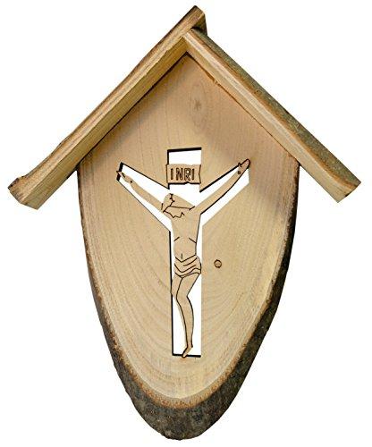 Kaltner Präsente Geschenkidee - Wandkreuz Echtes Fichte Holz Kreuz Kruzifix für die Wand 23 cm gefertigt im Grödner Tal Südtirol