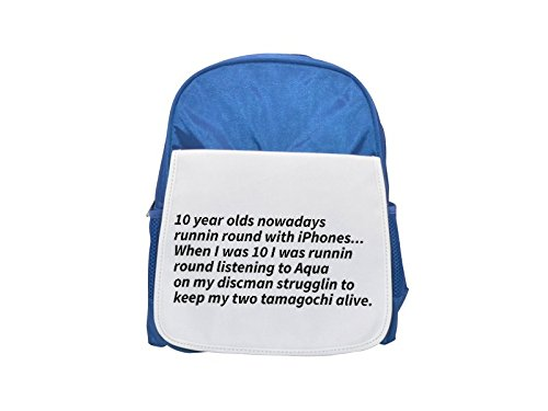 10 year olds nowadays runnin round with iPhones...When I was 10 I was runnin round listening to Aqua on my discman strugglin to keep my two tamagochi alive printed kid's blue backpack, Cute backpacks,