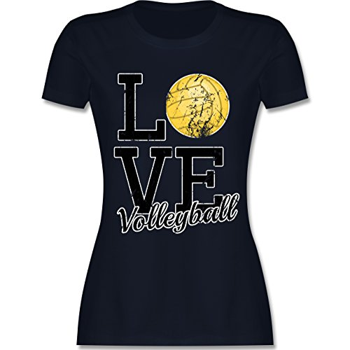 Shirtracer Volleyball - Love Volleyball - Damen T-Shirt Rundhals Navy Blau