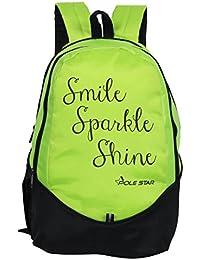"POLE STAR ""NEW BUDDY"" 31 Lt Black Green Casual Backpack I School Bag"