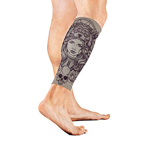 Wfispiy American Girl with Wolf Headdress Calf Compression Sleeve Leg Compression Socks for Shin Splint Calf Pain Relief Men Women and Runners Improves Circulation Recovery -