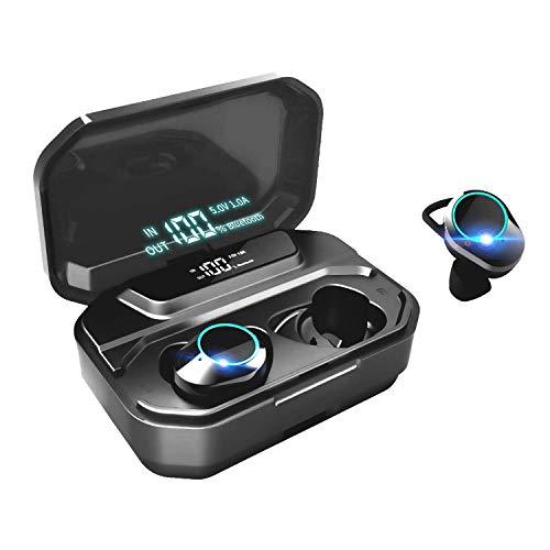 Auricolari Bluetooth Senza Fili G02, Cuffie Wireless 5.0 Riduzione del Rumore Hi-Fi Stereo, 3300mAh Smart Power Bank Display LED...