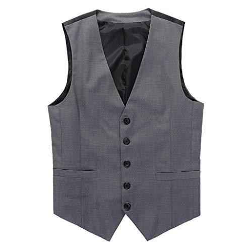 Daysing Herren Formelle Kleidung Weste Slim Fit Männer Mode Business für Anzug The original(Small (Gr:46)/-Tag M,Grau) -