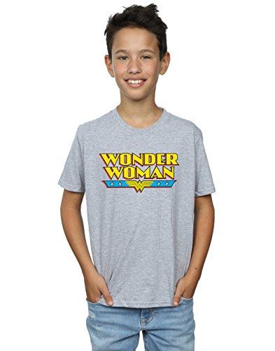 DC Comics Jungen Wonder Woman Text Logo T-Shirt 12-13 Years Sport Grey