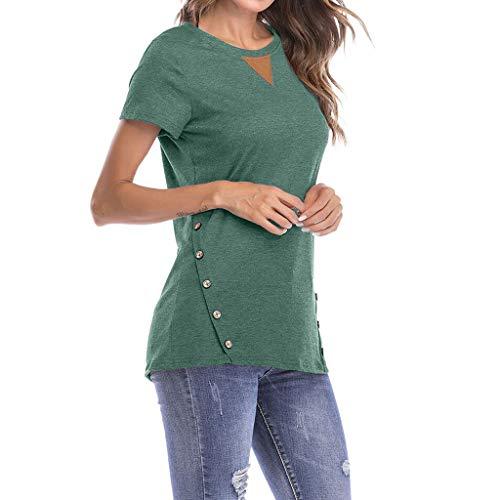 T Shirt Damen Sommer Bluse Shirts Tops Hemd Tunika Casual Rundhals Kurzarm Mit...