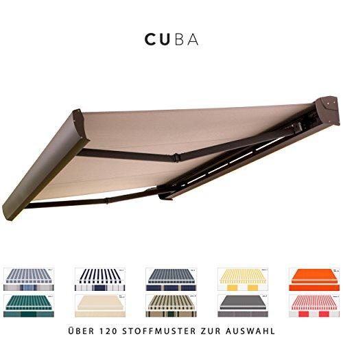 BroxSun Kassettenmarkise Cuba mit LED Beleuchtung | Breite 2,1 bis 7m | Auslage bis 3,6m! | Auswahl: 120 Stoffe, div. Antriebe uvm. | wetterfeste Markise elektrisch Sonnenschutz Terrasse beschattung, Cuba Steuerung:Antrieb Somfy m. Fernbedi. u. Windsensor, Cuba Abmessungen:Breite von 531 bis 590cm / Länge 310cm