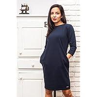 Marineblaues Damen Kleid, Damen Kleid - 100% Baumwolle, S / M Größe