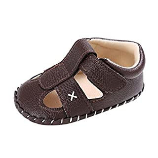 Baby Summer Shoes, ABsolutely Baby Children boys Soft Sole Crib Shoes Close Toe Sandals Toddler Anti-Slip Velcro Shoes (Age:12~18 Month/UK:3, Black)