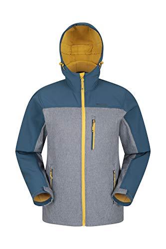 Mountain Warehouse Alto Herren-Softshell-Jacke - Wasserabweisende Shell-Jacke, gebundene Vlies-Jacke, verstellbare Kapuze - ideal für Sommer und Frühling Petrolblau XXX-Large