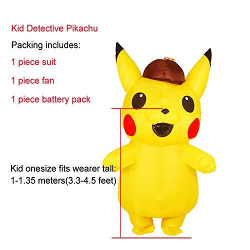 GAOGUAIG AA Aufblasbare Pikachu Kostüme Halloween Party Cosplay Kostüme Karneval Pokemon Maskottchen Kostüm for Kinder Erwachsene Männer Frauen SD (Color : Onecolor, Size : Onesize) (Pikachu Kostüm Männer)