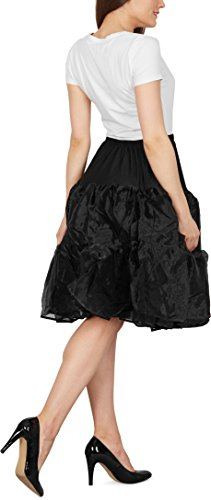 Black Butterfly 25″ Rockabilly Petticoat 1950er-Jahre Komplett aus Satin-Organza Tellerrock (Schwarz, EUR 36 – 42) - 3