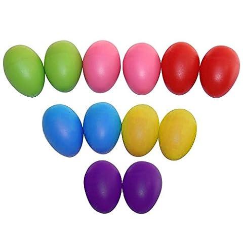 Beetest 12 PCS portables Percussion plastique Musical oeuf Maracas Oeufs Shakers enfant Kids oeuf Shaker début Instrument éducatif jouets couleur aléatoire