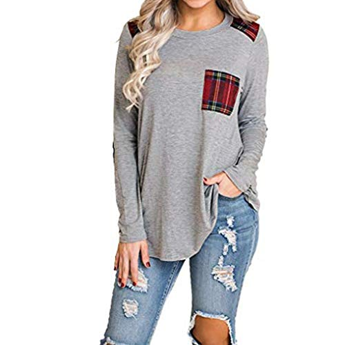 WWricotta Womens Long Sleeve Elbow Patch Shirt Plaid Color Block Pocket Knit Tops(Marine,S)
