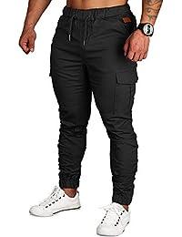 Zoerea Pantaloni Uomo Lunghi con Coulisse Tasche Laterali Maschio Cargo  Pants Casual Sport Trousers 83081c2fa35e