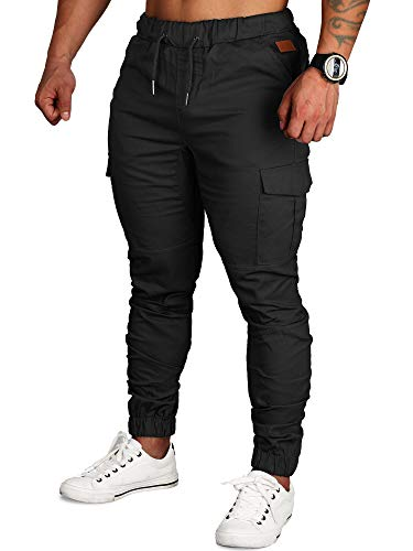 Zoerea Pantaloni Uomo Lunghi con Coulisse Tasche Laterali Maschio Cargo Pants Casual Sport Trousers Nero, 4XL