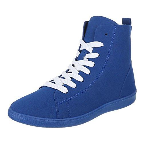 Damen Schuhe, 351-Y, FREIZEITSCHUHE, SNEAKERS, Synthetik in hochwertiger Wildlederoptik , Blau, Gr (Kostüm Mann Lollipop)
