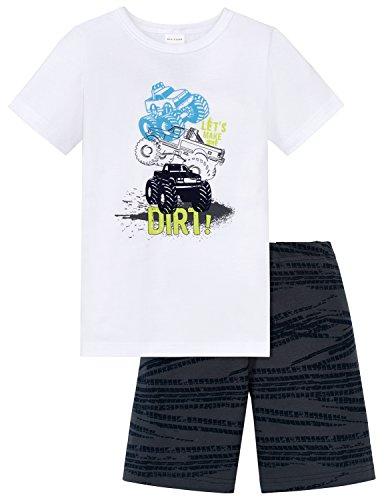 Schiesser Jungen Zweiteiliger Schlafanzug Kn Anzug Kurz, Weiß (Weiss 100), 92 (Herstellergröße 092) (Jungen-weißen Band)