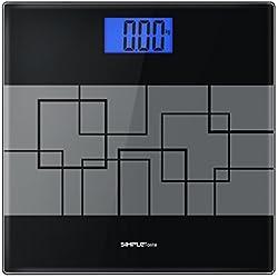 1Byone 700uk-0009simple goût balance numérique de poids du corps avec grand écran rétroéclairé, Noir