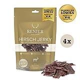 Renjer Trockenfleisch | Hochwertiges Jerky, handgeschnitten und schonend getrocknet und gesalzen, ohne Zucker, glutenfrei | [Hirsch] (4er)