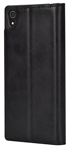 Mulbess Ledertasche im Ständer Book Case für Sony Xperia Z5 Tasche Hülle Leder Etui,Schwarz