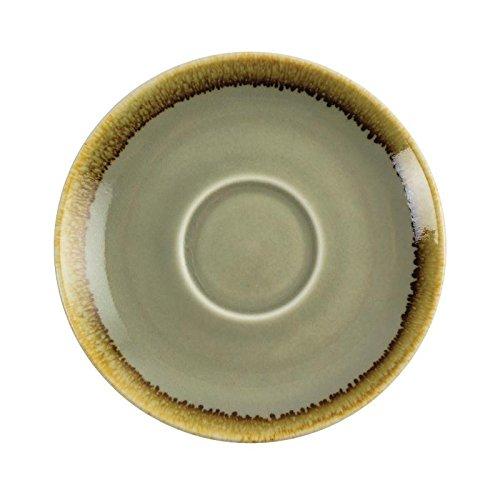 Vivera d'Olympia Gp479 mousse Cappuccino Soucoupe, Porcelaine, 140 mm de diamètre, Vert (lot de 6)