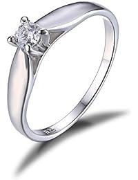 JewelryPalace Anillo de aniversario de zirconia cúbicos de plata esterlina 925 de las mujeres Banda de boda simple