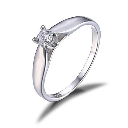 Jewelrypalace 0.2ct cubic zirconia anniversario solitario fidanzamento anello 925 sterling argento 17