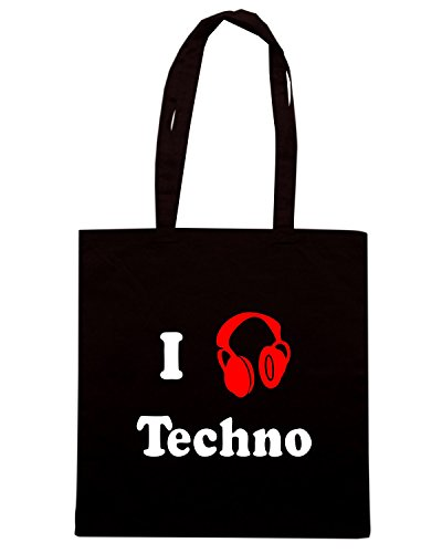 T-Shirtshock - Borsa Shopping TR0065 I love Techno T-Shirt Nero