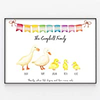 Ducks & Ducklings Family Print, Custom Quote, Personalised Wall Art Gift A4 or A3