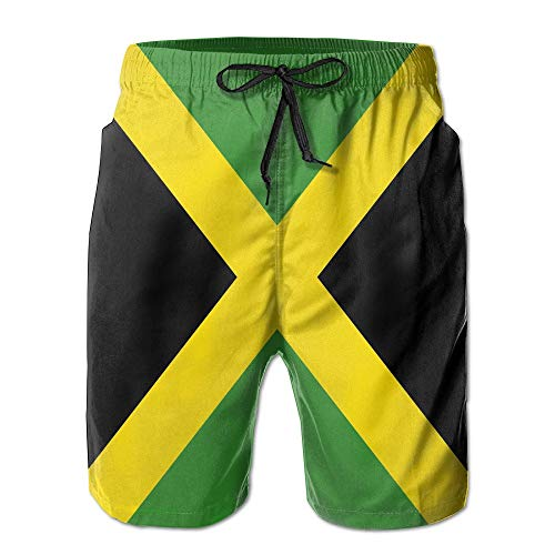 Jamaica Flag Men's Swim Boardshorts Quick-Dry Surf Beach Shorts Casual Sport Trunks-XL