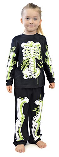 Boys Skeleton Glow In The Dark Cotton Pyjamas Ages 3-12 Years (5-6 Years) (Kid Nerd Kostüm)