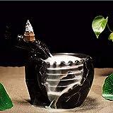 ExcLent Black Ceramic Waterfall Incense Burner Buddhist Backflow Censer Holder & 10 Cones