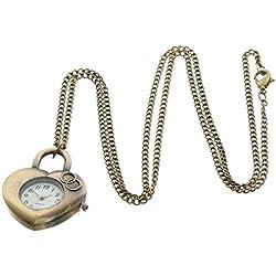 EOZY Steampunk Retro Antique Heart Pendant Analog Glass Dail Pocket Watch Quartz Clock Necklace Chain