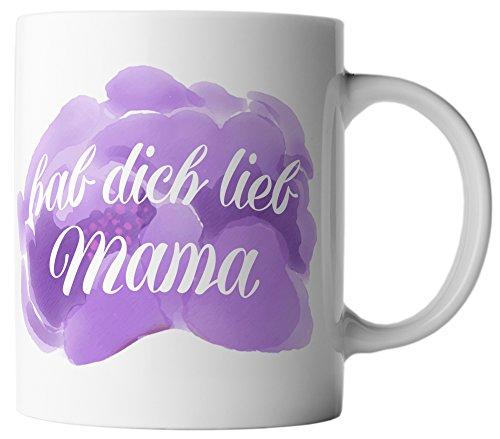 vanVerden Tasse Hab dich lieb Mama Muttertag Geschenk Mutter inkl. Geschenkkarte, Farbe:Weiß/Bunt
