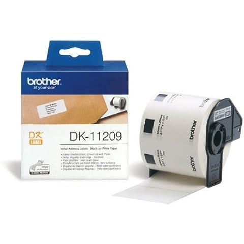 Brother DK11209 - Etiquetas precortadas de dirección pequeñas (papel térmico, 800 etiquetas blancas de 29 x 62