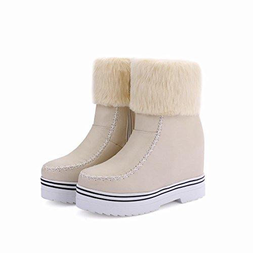 Mee Shoes Damen hidden heels Reißverschluss halbschaft Schneestiefel Beige