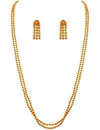 Jfl - Jewellery For Less Traditional Ethnic One Gram Gold Plated Bead Designer Necklace Set With Earring For Women