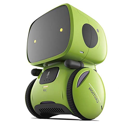 Geniebox Smart Robot Interactive Toys Educational Mini Robot for Kids with Interactive Dialogue Conversation, Voice Recognition, Chat Record, Singing & Dancing - Green