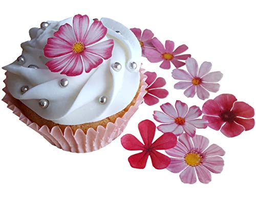 schöne rosa Blumen, vorgeschnittenes, essbares Reis-, Oblatenpapier. Dekoration für Cupcakes, Kuchen, Desserts. Für Geburtstagspartys, Hochzeiten, Babypartys., Flowers ()