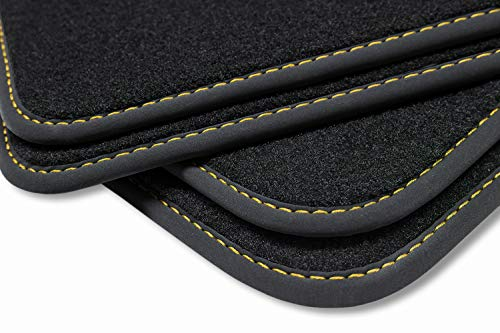 Preisvergleich Produktbild teileplus24 V371 Velours Fußmatten,  passgenaue Fertigung,  Trittschutz auf der Fahrer Fußmatte,  Nubuk Bandeinfassung,  Ziernähte,  Farbe Naht:Gelb