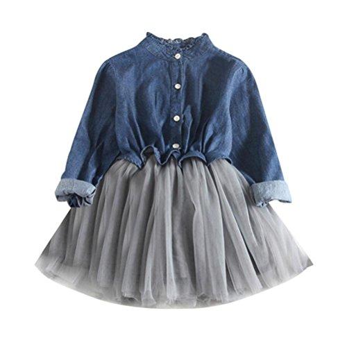 Kolylong Girls Dress For 2-7 Years, Kids Girls Denim Dress Long Sleeve Princess Tutu Dress Cowboy Clothes